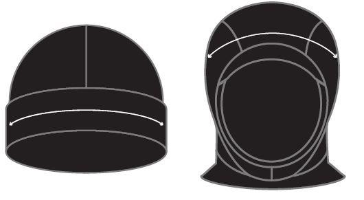 Prolimit beanie hood size chart